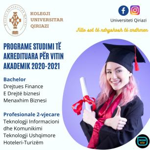 PROGRAME STUDIMI TË AKDREDITUARA PËR VITIN AKADEMIK 2020-2021